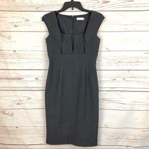 Calvin Klein Dresses - Calvin Klein Grey Pleated Career Sheath Dress